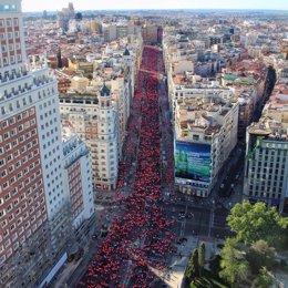 Vista panorámica de la Carrera de la Mujer en Madrid