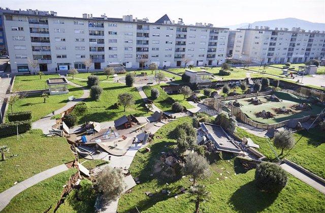Zona afectada por el derrumbe en Nueva Montaña