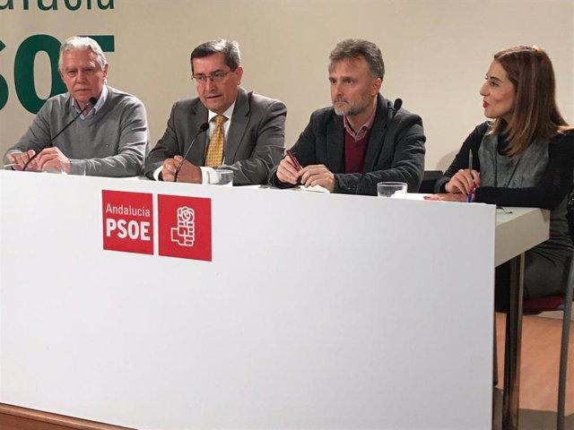 El portavoz del Grupo Parlamentario Socialista de Andalucía, José Fiscal; la portavoz de la Comisión de Educación en el Parlamento, Beatriz Rubiño; el secretario del PSOE de Granada, José Entrena, y el secretario de educación del PSOE-A, Francisco Menacho