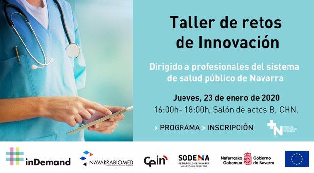 Cartel del taller sobre retos de innovación de Salud organizado por el Gobierno foral