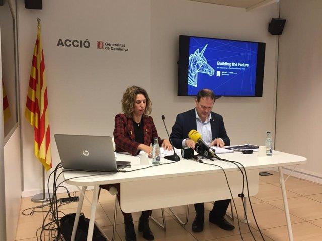 La consellera de Empresa y Conocimiento de la Generalitat, Àngels Chacón, y el consejero delegado de Acció, Joan Romero