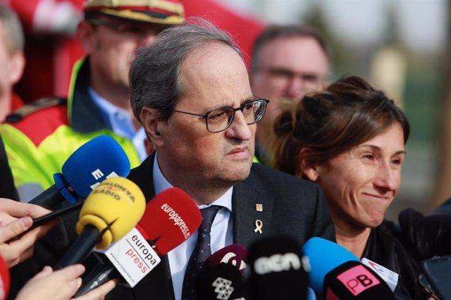 El president de la Generalitat, Quim Torra, atén els mitjans a la Canonja (Tarragona), 15 de gener del 2020.