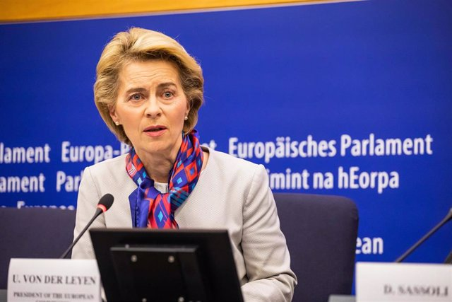 14 January 2020, France, Strasbourg: European Commission President Ursula von der Leyen reacts during a press conference to mark the start of the Croatian Presidency of the EU Council. Photo: Philipp von Ditfurth/dpa