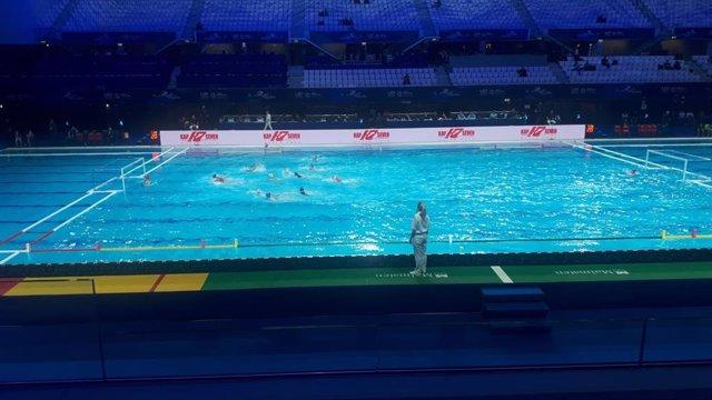 Partit entre Espanya i Israel en el Campionat d'Europa de waterpolo femení a Budapest (Hongria), 15 de gener del 2020.