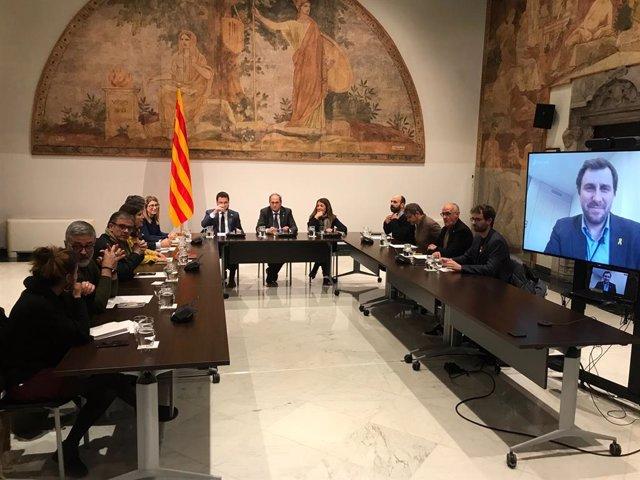 Reunió del president de la Generalitat, Quim Torra, el vicepresident, Pere Aragonès, i la consellera de la Presidència, Meritxell Budó, amb partits i entitats independentistes