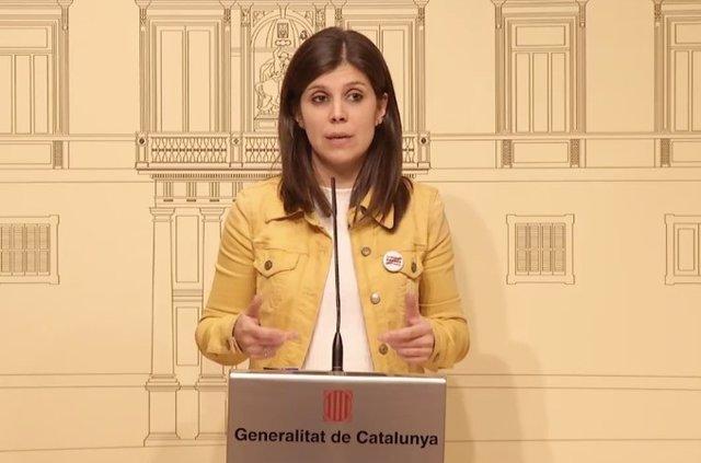 La secretria general adjunta d'ERC, Marta Vilalta, després de la reunió de forces independentistes en el Palau de la Generalitat amb el president Quim Torra, el 15 de gener de 2020.