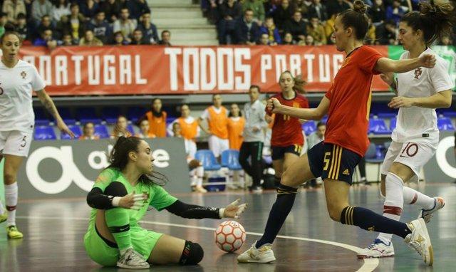 La selección española de fútbol sala ante Portugal en un partido amistoso