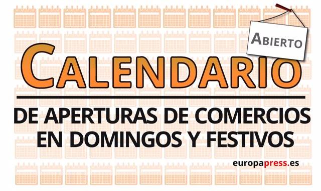 Calendario de aperturas del comercio en domingos y festivos