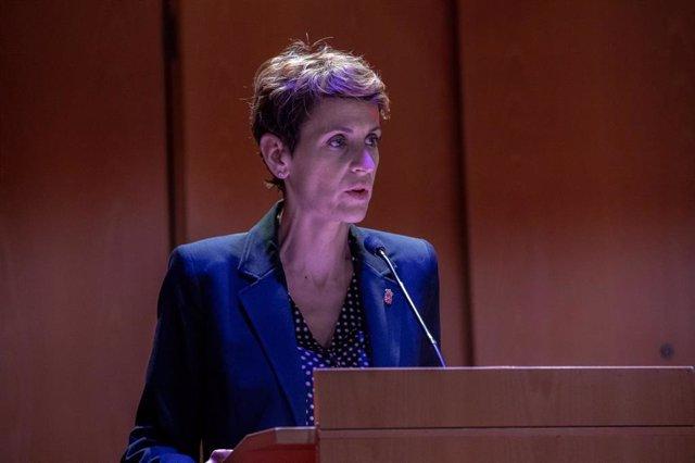 La presidenta de Navarra, María Chivite, interviene en la entrega del premio Lázaro Galdiano en Madrid (España), a 13 de noviembre de 2019