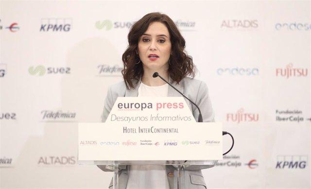La presidenta de la Comunidad de Madrid, Isabel Díaz Ayuso, durante su intervención en un desayuno informativo de Europa Press, en Madrid (España), 16 de enero de 2020.