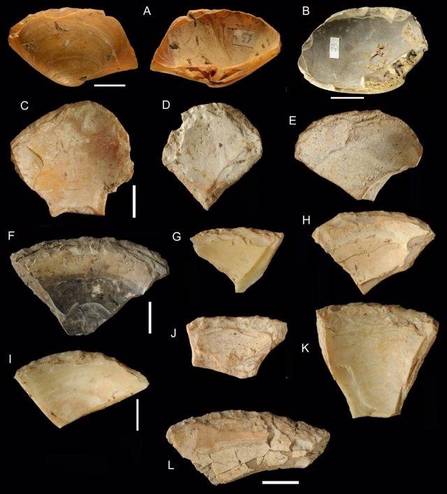 Restos de conchas usados como herramientas