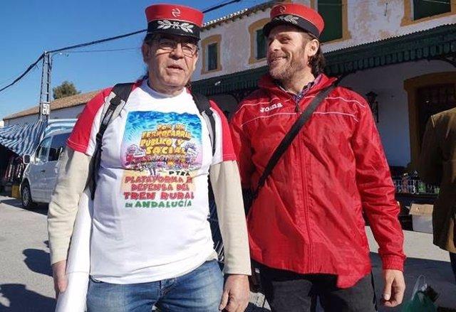 Imagen en la estación de Baza (Granada) de 31 de diciembre tras la reapertura de la Línea Guadix-Baza-Almendrícos, cuando se conmemoraban 35 años de su cierre.