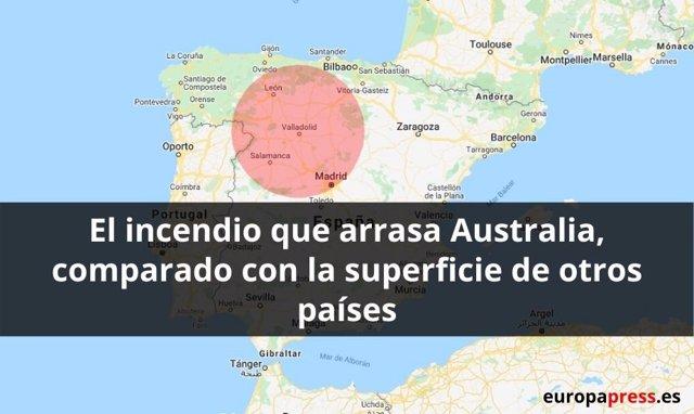 El incendio que arrasa Australia , comparado con la superficie de otros países