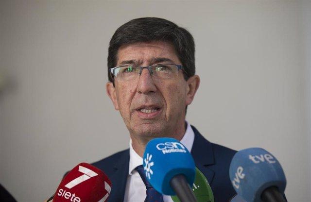 El vicepresidente de la Junta de Andalucía, Juan Marín, ofrece rueda de prensa. En el Parlamento de Andalucía, Sevilla, a 07 de enero de 2020.