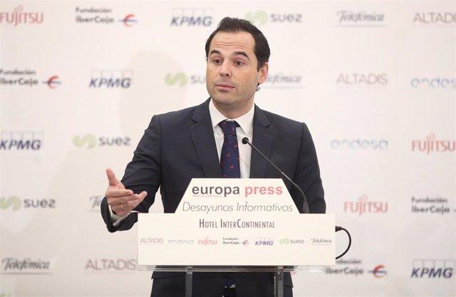 El vicepresidente de la Comunidad de Madrid, Ignacio Aguado, durante su intervención en un desayuno informativo de Europa Press, en Madrid (España), 16 de enero de 2020.