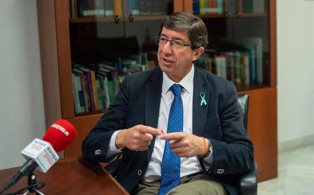 El vicepresidente de la Junta y portavoz de Ciudadanos (Cs), Juan Marín, durante la entrevista a Europa Press.