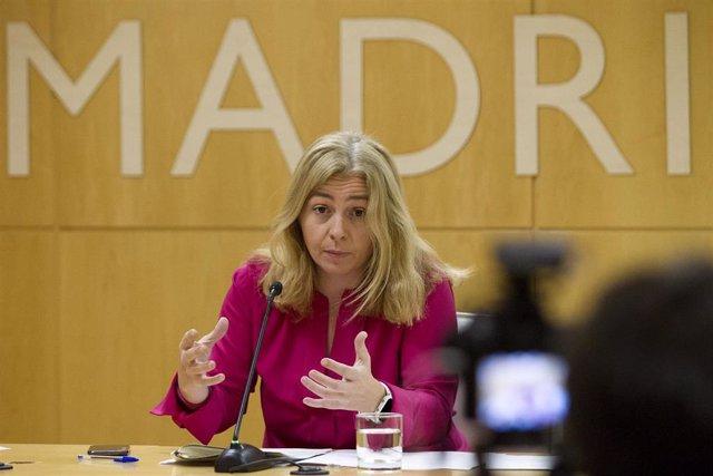 La portavoz del Ayuntamiento de Madrid, Inmaculada Sanz, en la rueda de prensa posterior a la Junta de Gobierno.