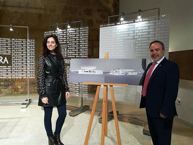 Nuria Flores y Francisco Martín Simón en la presentación del stand de Extremadura en Fitur 2020