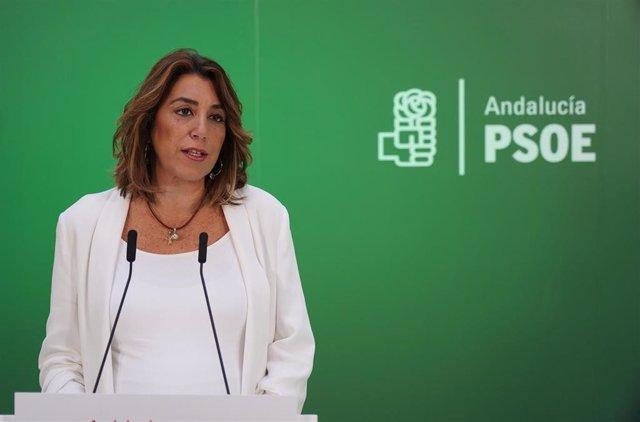 La secretaria general del PSOE-A, Susana Díaz, en rueda de prensa.