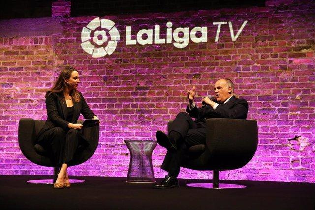 El presidente de LaLiga, Javier Tebas, en el lanzamiento de LaLigaTV en Londres