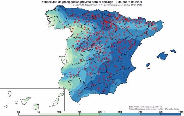 Mapa de lugares donde se pueden producir precipitaciones el domingo, 19 de enero de 2020, en España