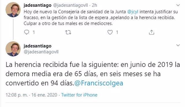Captura de los tuits de José Antonio de Santiago-Juárez.