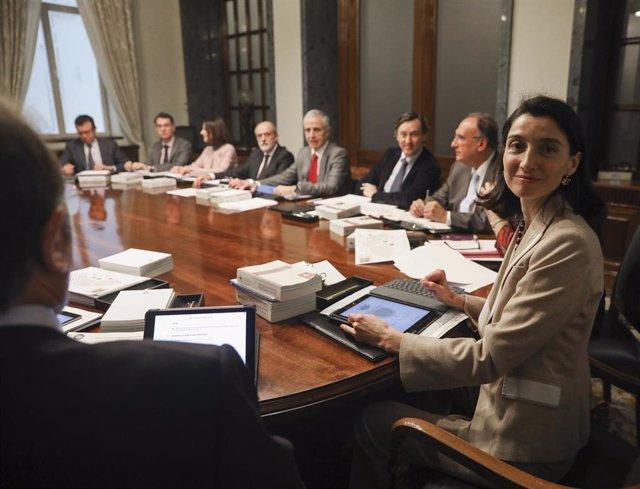 La presidenta del Senado, Pilar Llop, durante la reunión de la Junta de Portavoces del Senado.