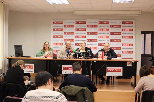 Ana Martínez,Julián Gutiérrez, Manuel Pina, y Manuel Martín este jueves en la rueda de prensa en la sede de CCOO.