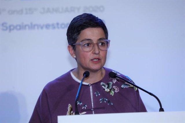 La ministra de Asuntos Exteriores, UE y Cooperación, Arancha González Laya, interviene en la primera jornada de la X edición del 'Spain Investors Day' en el Palacio de la Bolsa de Madrid el 14 de enero de 2020.