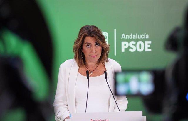 La secretaria general del PSOE-A, Susana Díaz, en  la rueda de prensa  para hacer balance del año de gobierno de PP-A y Cs en Andalucía, en Sevilla a 16 de enero 2020