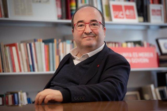 El primer secretari del PSC, Miquel Iceta, durant una entrevista d'Europa Press, Barcelona, 9 de gener del 2020.