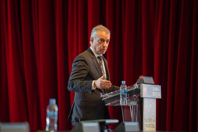 El lehendakari del Gobierno del País Vasco, Iñigo Urkullu, durante su intervención en la clausura de la jornada de UGT 'Salvemos la industria. Claves para el desarrollo industrial'