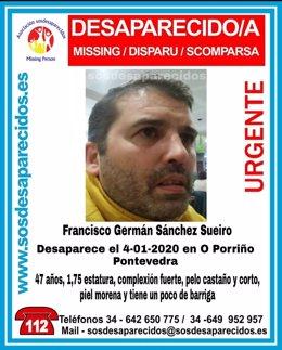 Vecino de O Porriño (Pontevedra) desaparecido desde el 4 de enero de 2020, cuando salía de trabajar en una panadería.