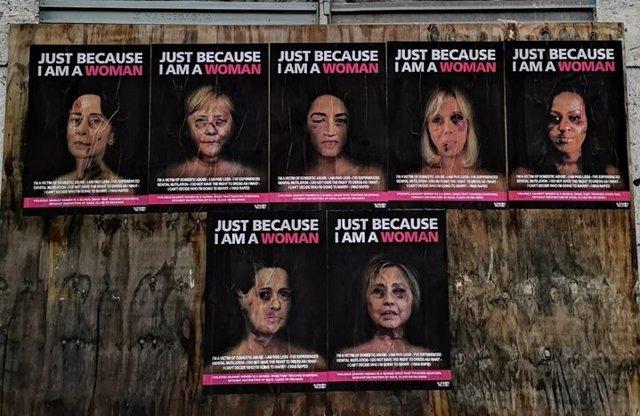 Italia.- Merkel, Michelle Obama o Suu Kyi, con las caras golpeadas en una campañ