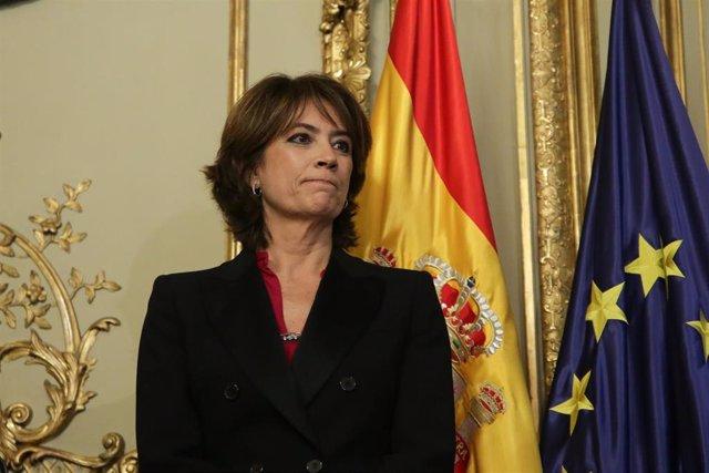 La exministra de Justicia y futura Fiscal General del Estado, Dolores Delgado, durante el acto de toma de posesión de ministros en el Ministerio de Justicia en el Palacio de Parcent, Madrid (España), a 13 de enero de 2020.