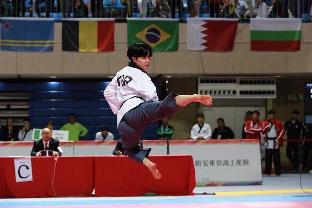 Luchadora de taekwondo coreana.