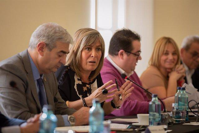 L'alcaldessa de L'Hospitalet de Llobregat, Núria Marín, en la comissió mixta entre Generalitat i Ajuntament de L'Hospitalet de Llobregat