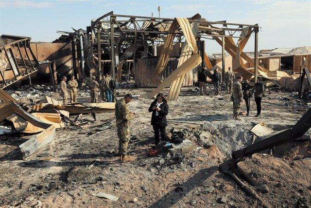 La base aérea iraquí de Al Asad tras el ataque de Irán como respuesta a la muerte del general Qasem Soleimani a manos de Estados Unidos.