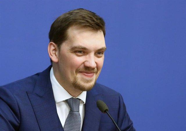 Oleksi Honcharuk, en una rueda de prensa