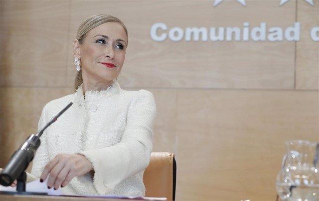 Imagen de recurso de la expresidenta de la Comunidad de Madrid Cristina Cifuentes durante una rueda de prensa.