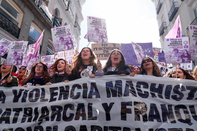 Manifestación convocada por el Sindicato de Estudiantes y su plataforma feminista Libres y Combativas el pasado 8 de marzo en Madrid.