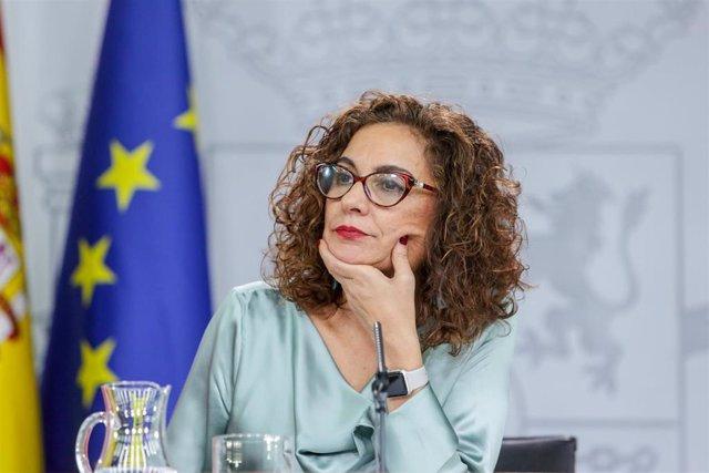 La ministra de Hacienda y Portavoz del Gobierno, María Jesús Montero comparece ante los medios de comunicación tras la segunda reunión del Consejo de Ministros del Gobierno.