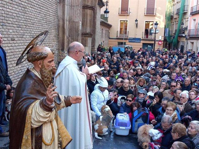 El párroco Santiago Fustero bendice a los animales que acuden a la festividad de San Antón