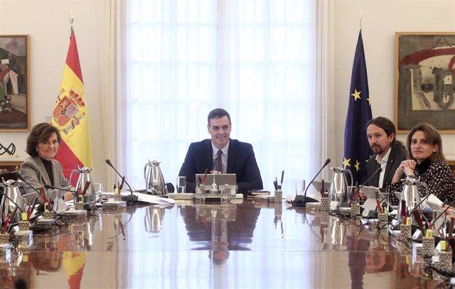 Primer consejo de ministros del Gobierno de coalición del PSOE y Unidas Podemos en la XIV Legislatura.