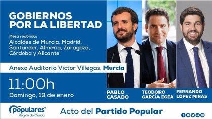 Pablo Casado participa este domingo en Murcia en un acto con alcaldes bajo el lema 'Gobiernos por la libertad'