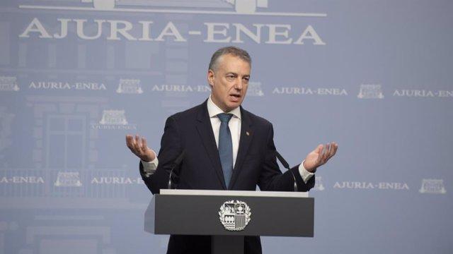 El Lehendakari, Iñigo Urkullu, en una comparecencia pública