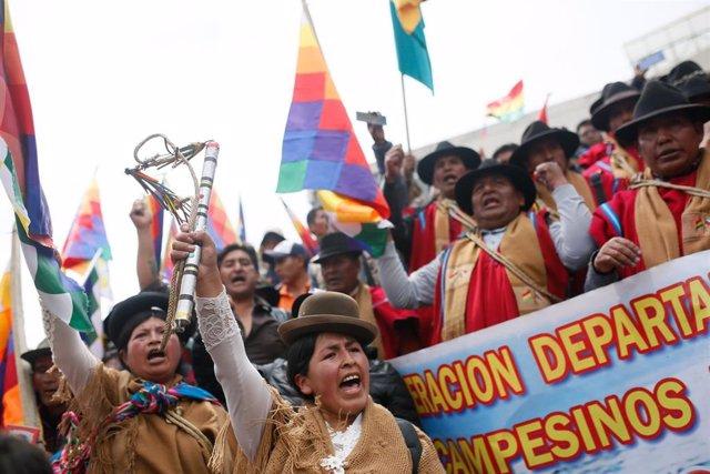 Seguidores del expresidente de Bolivia Evo Morales