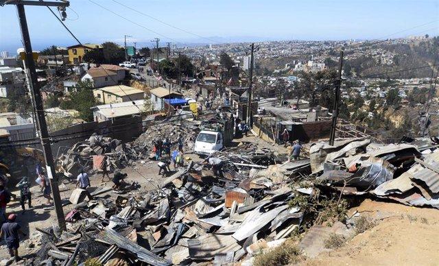 Daños causados por el incendio en diciembre de 2019 en Valparaíso, Chile