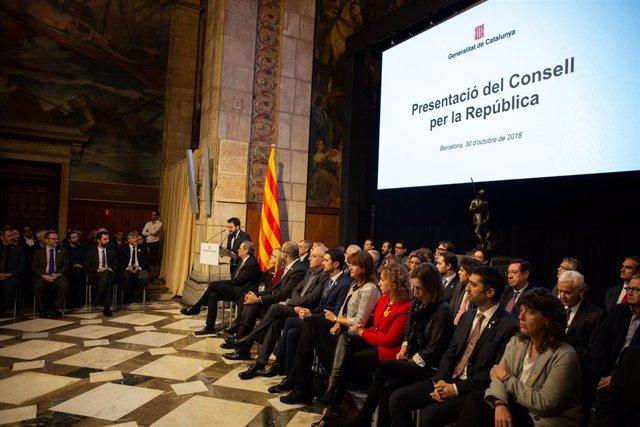 Presentació del Consell per la República el 2018 a la Generalitat