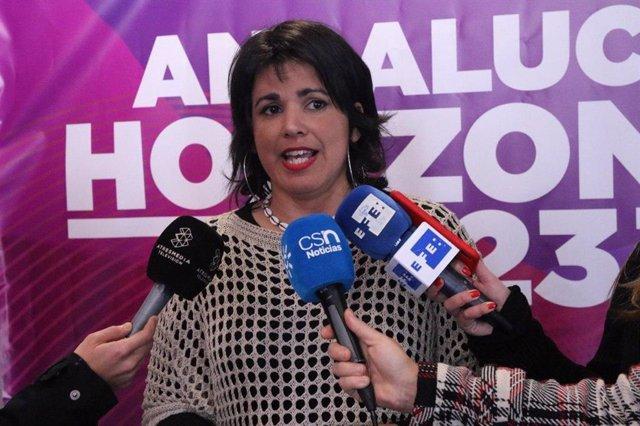 La coordinadora general de Podemos Andalucía y portavoz de Adelante Andalucía, Teresa Rodríguez, este sábado